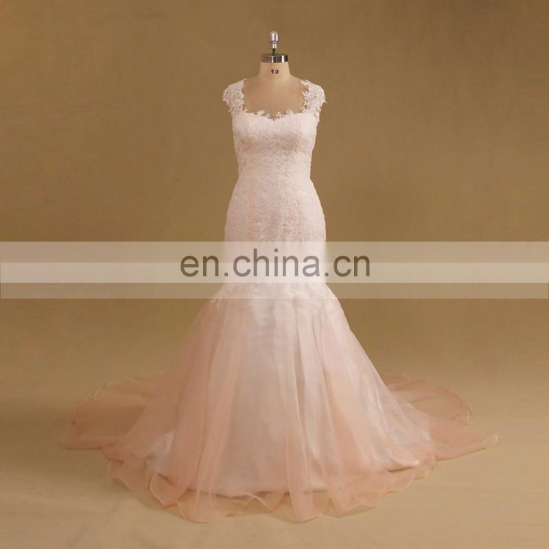 Gentle Blush Cap Sleeve Mermaid Lace Key Hole Back Wedding Dress