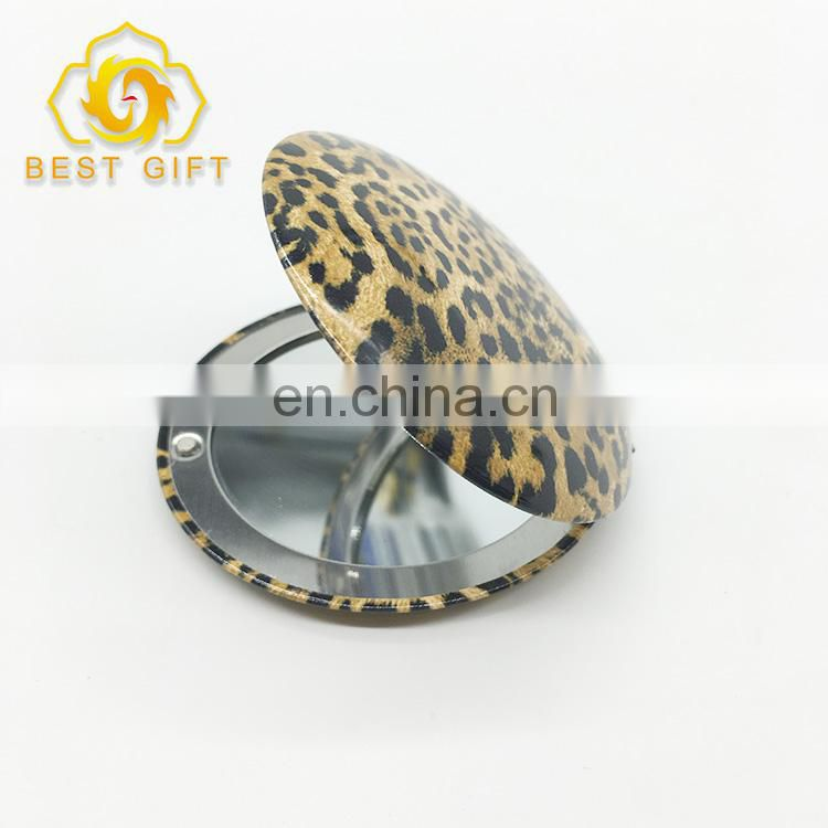 Cheap Custom Large Pretty Leopard Printing Round Compact Mirror