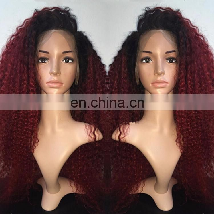 7A Ombre Color Afro Kinky Curly Lace Front Wig With Baby Hair Unprocessed Indian Hair 1BTBug Afro Curl Human Wig For Black Women