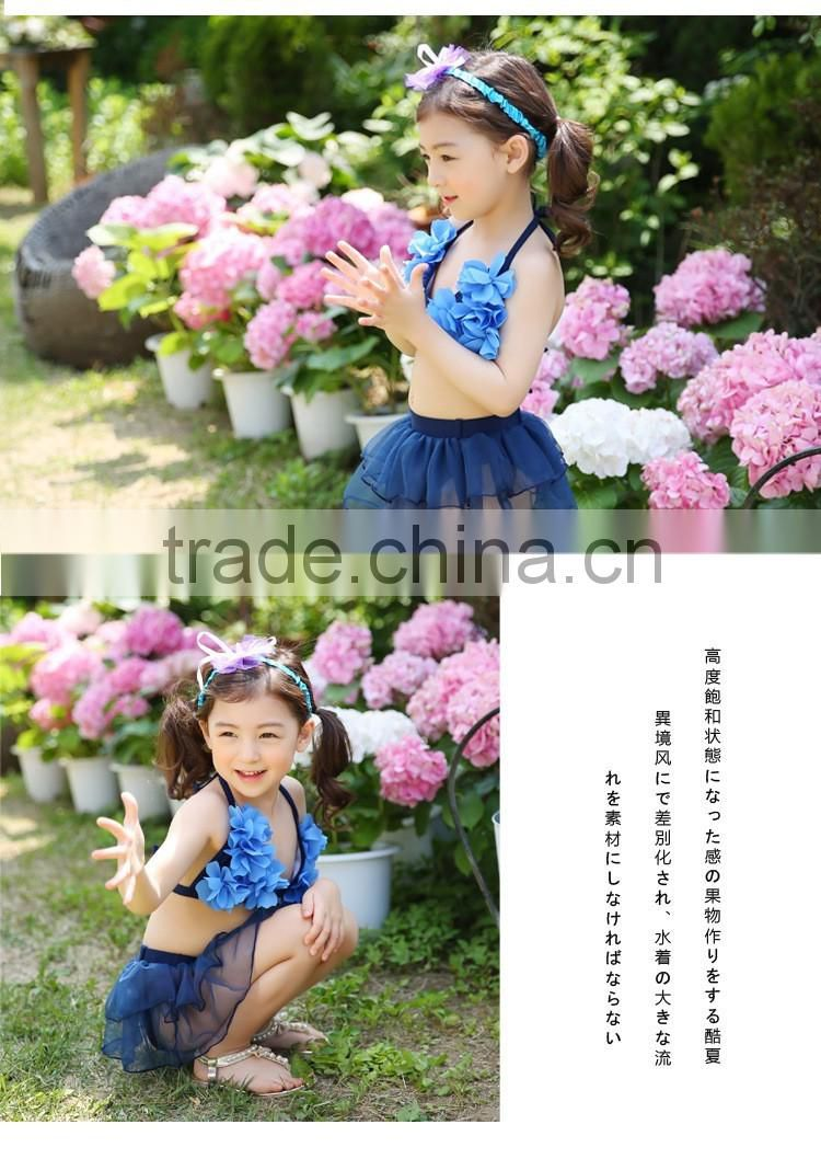 Manufacturer direct stereo flowers for girls baby swimming dress fission bikini bathing suit children's hot spring bathing suit