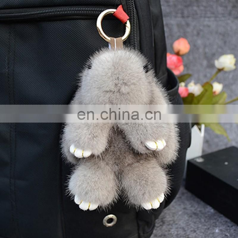 Grey genuine mink fur bunny bag charm cute Copenhagen rabbit pendant