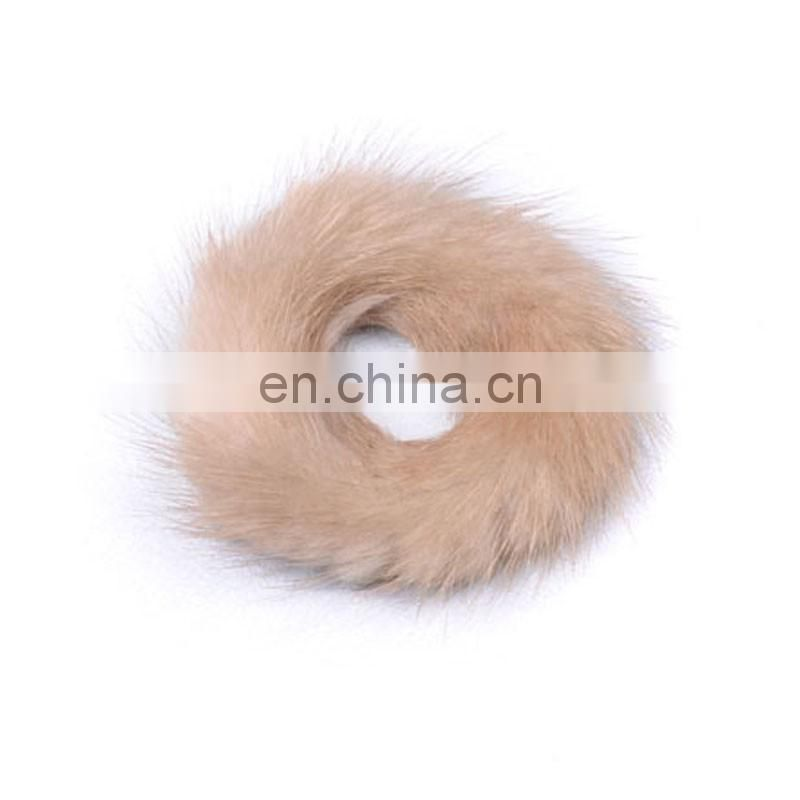 Solid color girl women real fur accessory mink fur elastic factory price