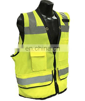 High visibility fluorescent yellow 100% polyester reflective safety vest with pockets