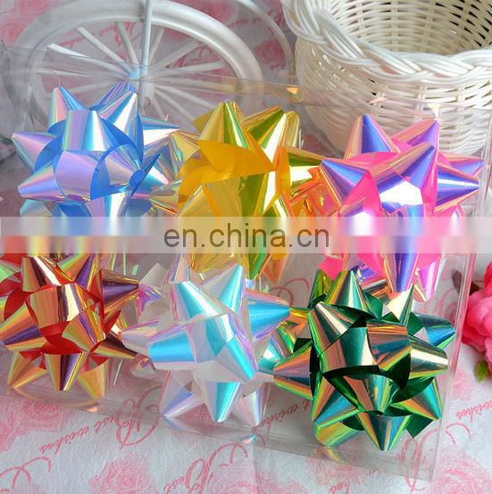 christmas gift wrapping multicolor star bows