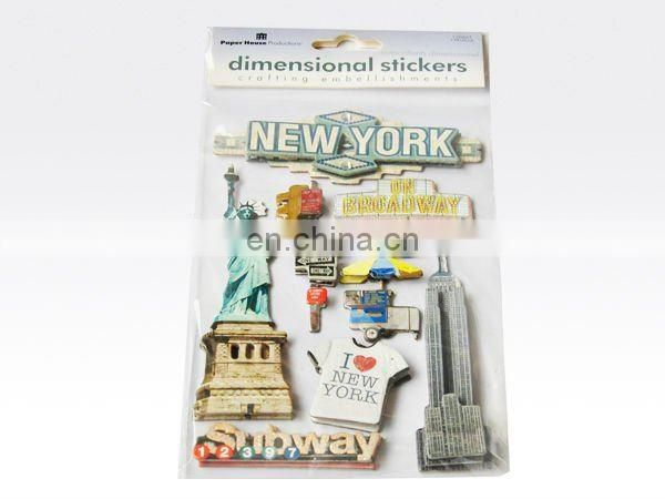 Three dimensional paper stickers