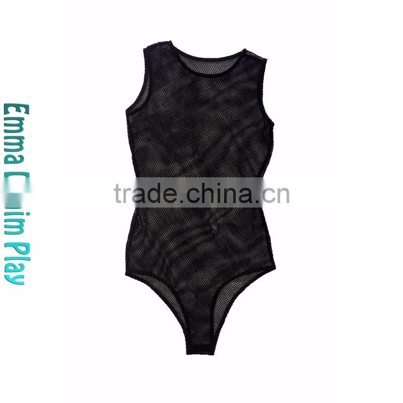 New Sexy Design Black Fishnet Bodysuit with Buttons for Ladies