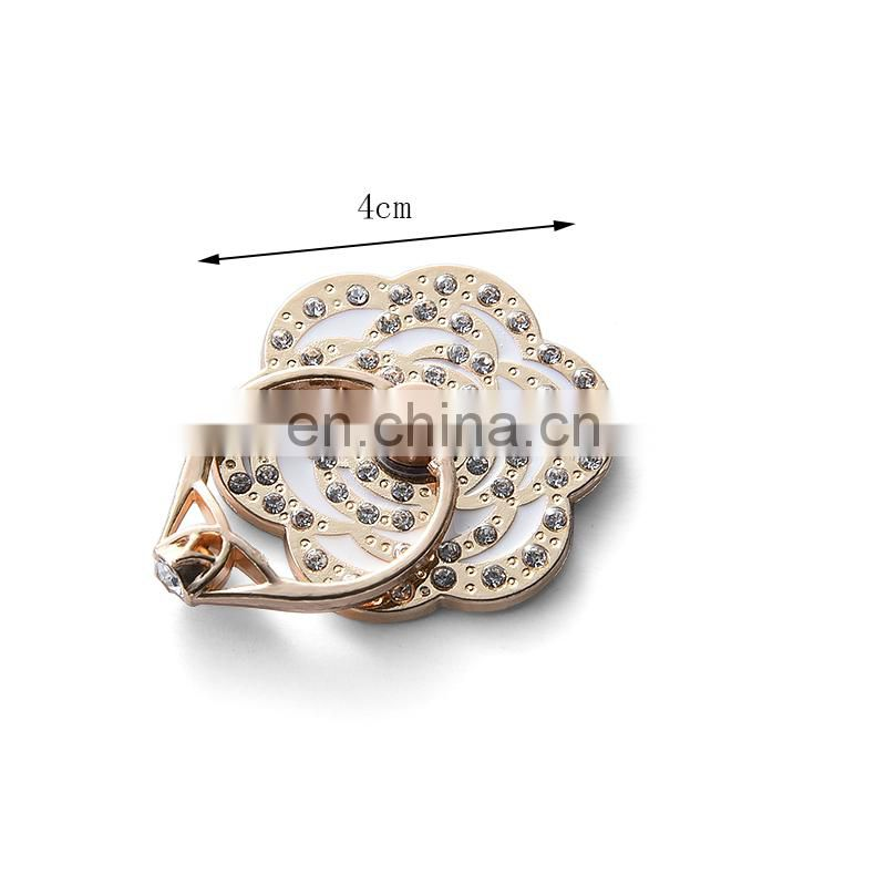 Custom Mobile Phone Diamond Flower shape Finger phone ring holder