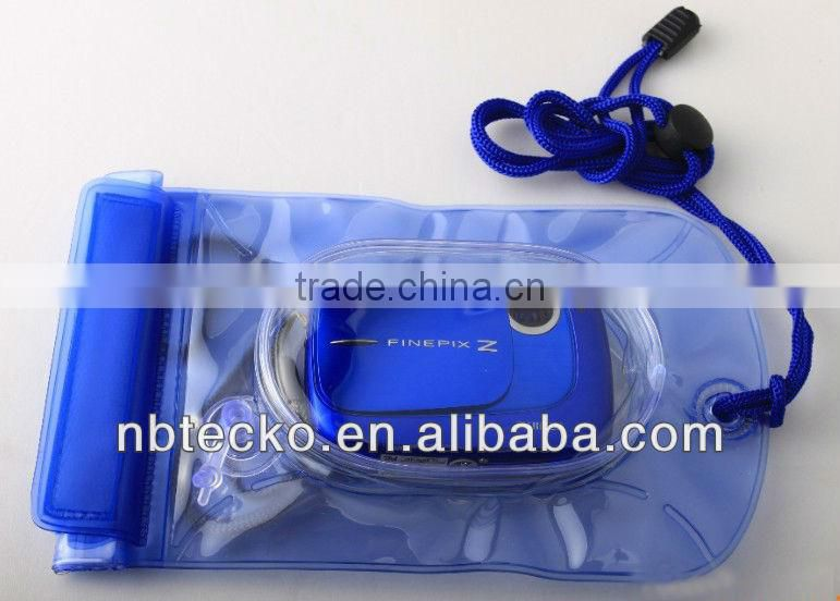 Transparent PVC waterproof lanyard pouch for camera or cell phone