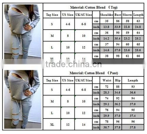 New arrive Womens sexy Zipper Tracksuit Hoodie Sweatshirt+Pants Casual Hip Pop Sportwear