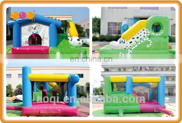 AOQI good quality outdoor game dog mini inflatable slide with bouncer commerical party inflatable slide for promotion