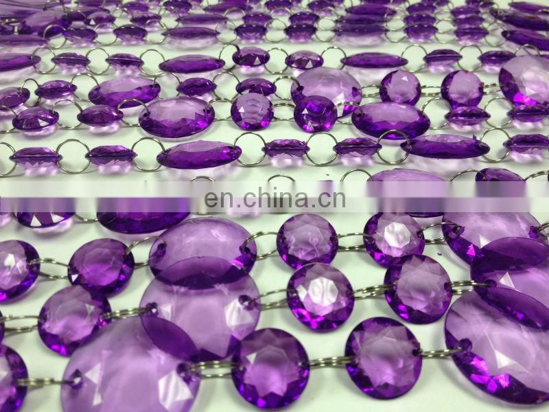 Purple Acrylic Crystal Hanging Bead Chain Garland for Wedding Decor