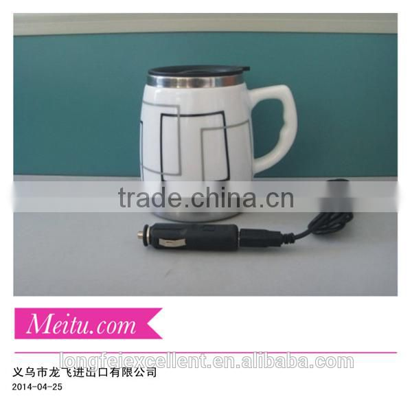 2014 durable electricity ceramic cup white mugs with stainless inside yiwu China wholesale eco-friendly