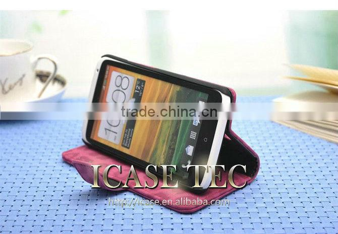 hot colorful flip case for htc one x wallet style, leather case for htc one x card holder
