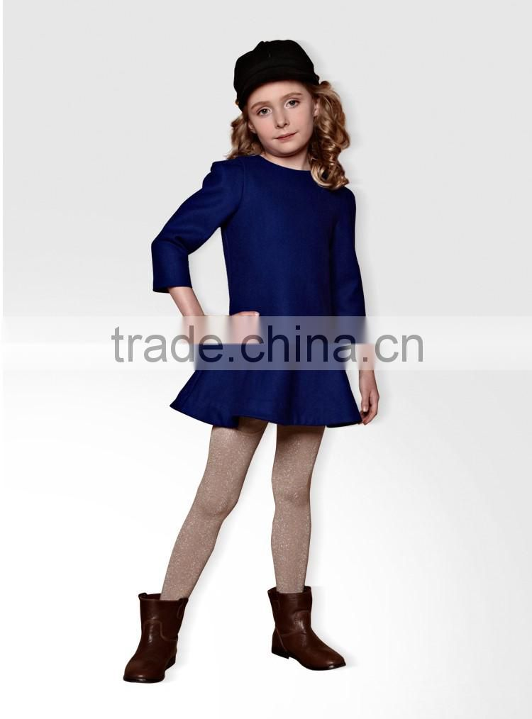 Baby Girls' Kids Winter Autumn Thicken Woolen Pleated Ruffles Dresses Clothes Manufacturer OEM Type ODM Factory Guangzhou