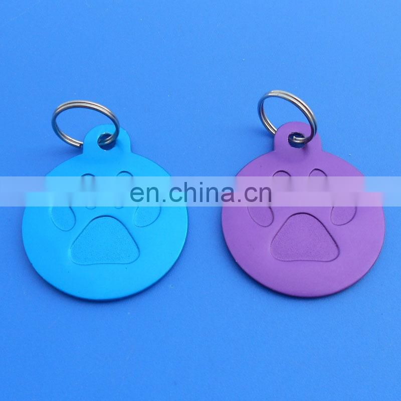 shiny blue color glittering pet id tag round shape different logo dog tag decoration