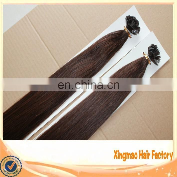 Full Cuticle Double Drawn Wholesale Keratin Hair Flat Tip Hair Extension Brazilian Remy Human Pre-bonded Hair