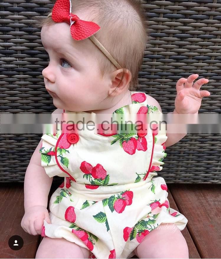 Latest Design European Style Baby Rompers 2016 Fashion Children Clothes Strawberry Tape Rompers