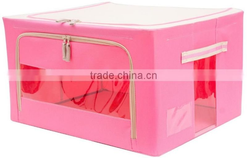 Foldable storage box with metal frame