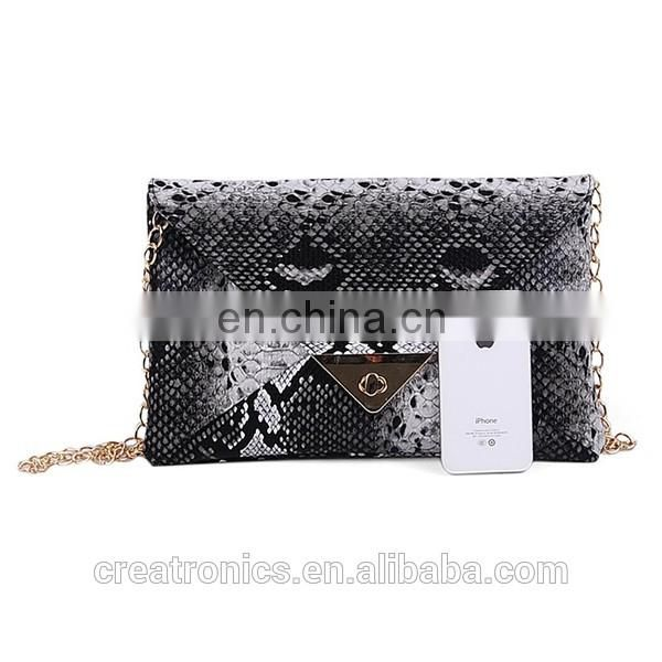 CR High reputation supplier snake skin envelope pattern customized top quality leather bags wholesale in egypt