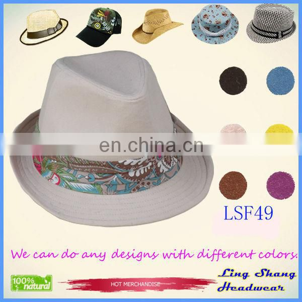 LSF58 Ningbo lingshang Hot sell hat Elegant Blue Flower Fabric Fedora Hat