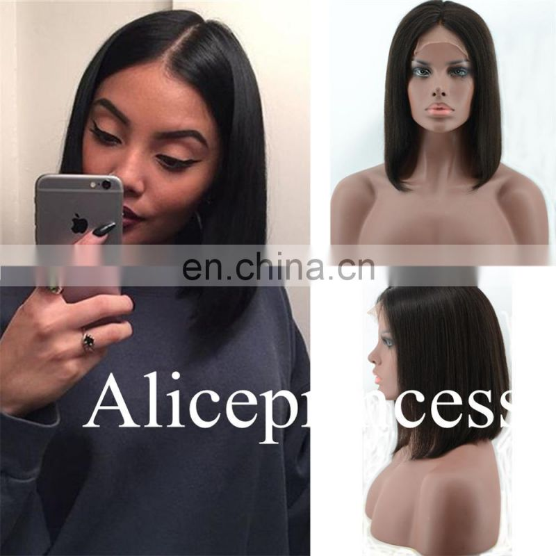 The Silky Straight With Side Bangs Wigs Remy Human Hair Bob Lace Wigs Bob Cut Peruvian Hair Full Lace Wigs For Black Women