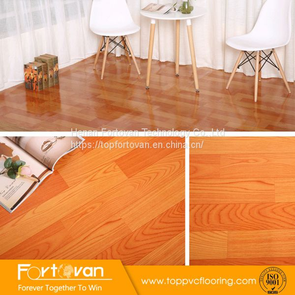 Indoor Wood Look Roll Pvc Flooring Felt Back Vinyl Floor Mat Image