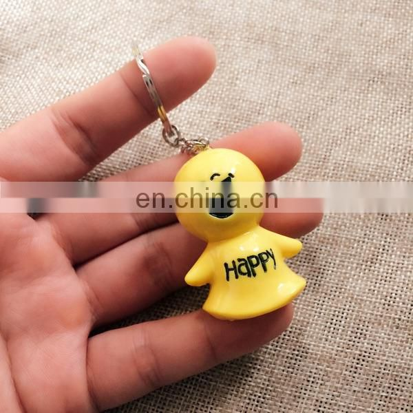 resin smile doll key chain
