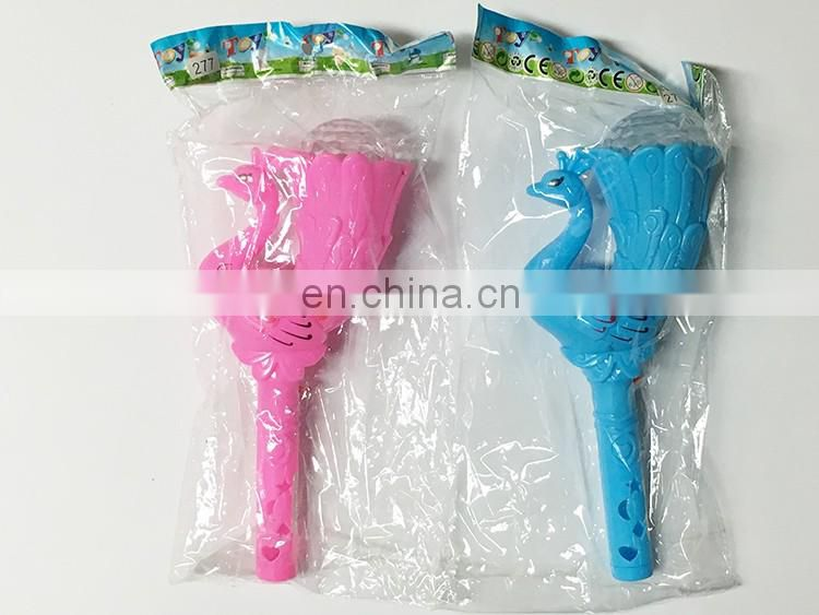 Peacock shape flash stick candy plastic toy container