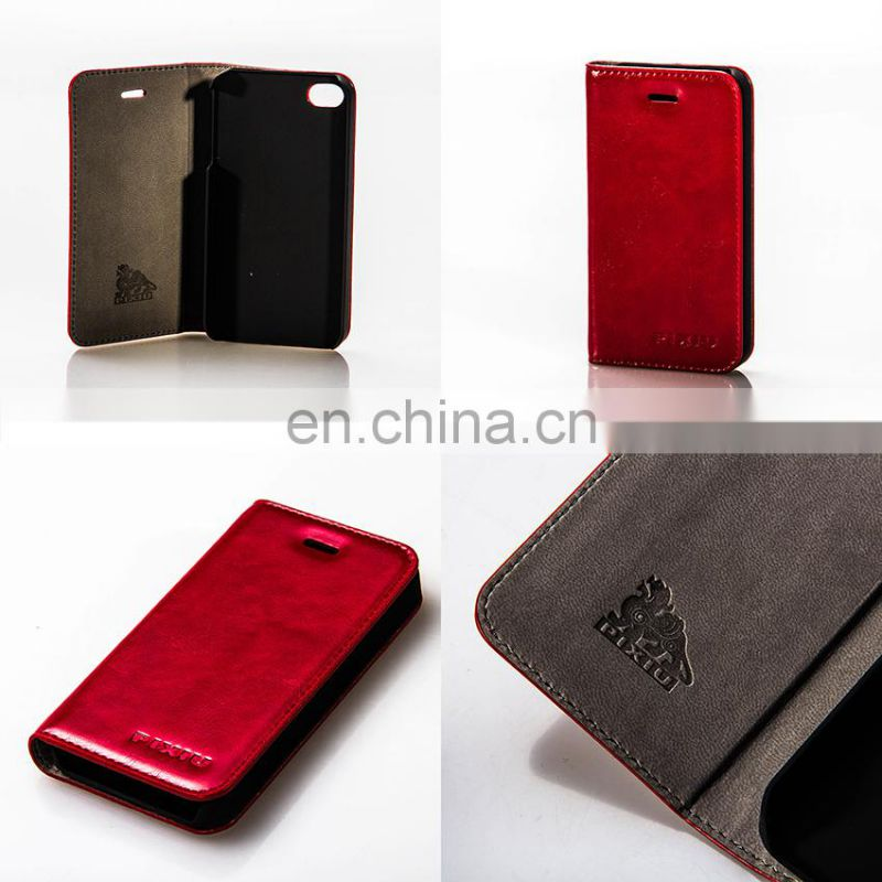 Super Quality Handmade Leather Mobile Case Blazing Red Cellphone Holder
