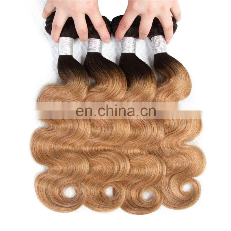 Two tone ombre colored hair weave bundles 1b/27 Virgin Indian hair extensions 7A Body wave human hair weft in guangzhou