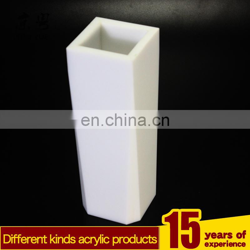 Square white pmma plexiglass flower stand acrylic flower stand