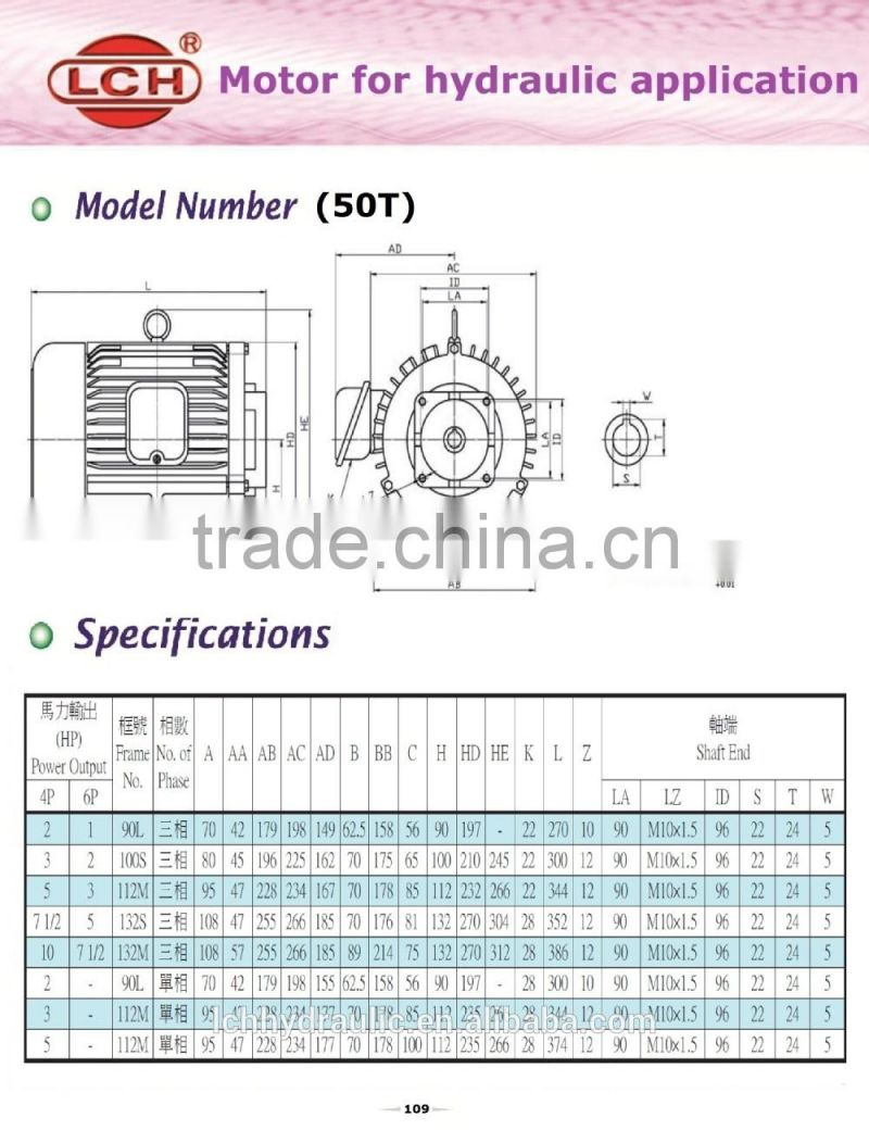 Alibaba China Supplier Electric Motor Weight Chart