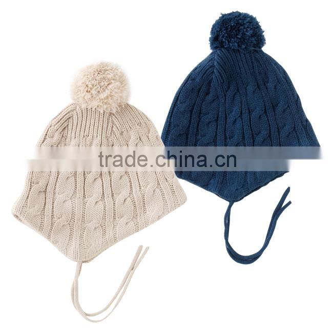 japanese wholesale border fashion knitted baby bucket winter hat with strap and bon bon high quality infant wear child clothes