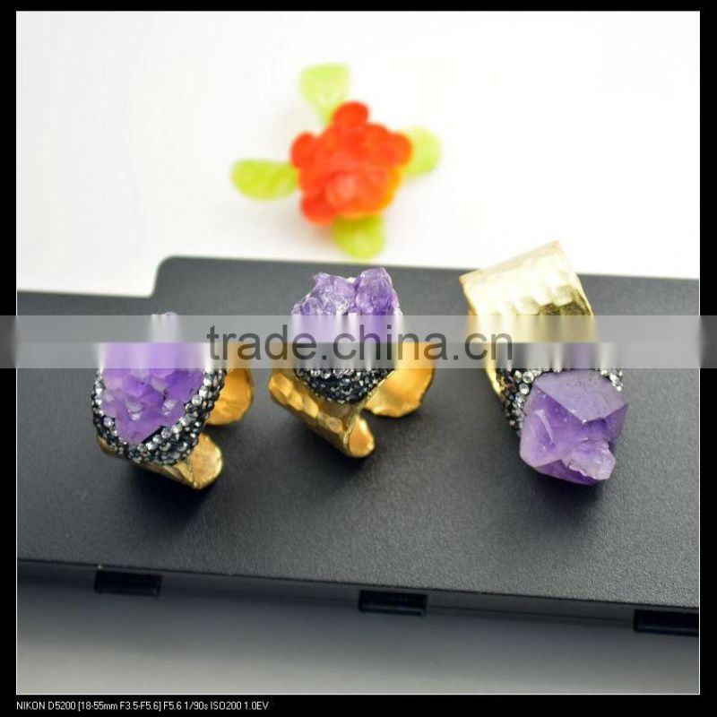 LFD-0016R ~Fashion Jewelry Gold Plated Nature Amethyst Quartz Rings, Crystal Rhinestone Paved Gems Druzy Ring Adjustable Size Image
