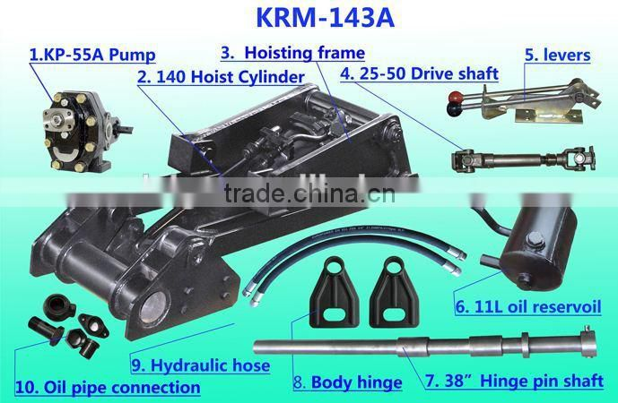 Indonesia style KRM143/167 auto chassis dump truck hydraulic hoist