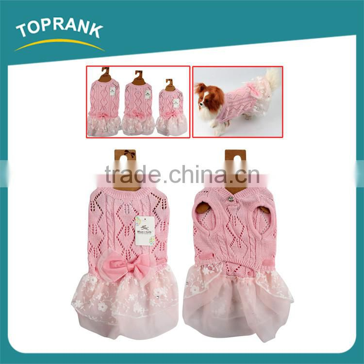Dog clothes pet accessories pink wedding pet dress dog clothes with bowknot