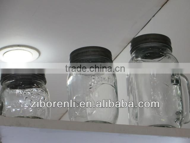 Square Shape Clear Pedestal Glass Mason Jars with Handle