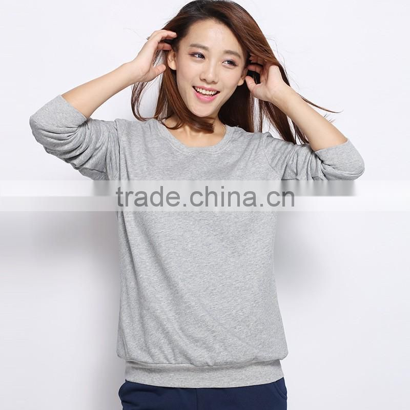 2016 Autumn womens casual pullover Long sleeve crewneck cotton sweatshirt without hood
