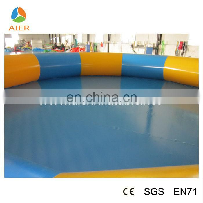 Good quality round blue and orange color inflatable swimming pool with CE certificate