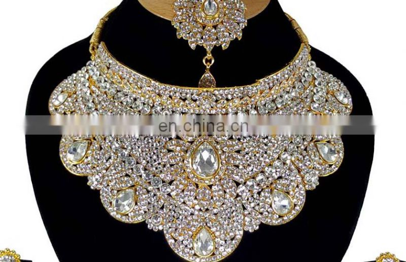 Crystal Bollywood Gold Plated Indian Handmade Ethnic Kundan Zerconic Necklace set in White Color