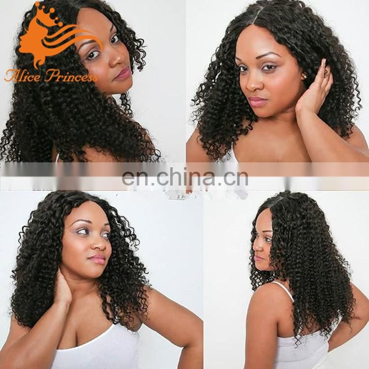 "4""x4"" Silk Top Full Lace Wigs Kinky Curly Human Hair Wigs Silk Base Wig with Baby Hair"