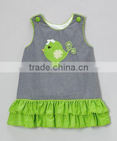 cheap popular kids girls cartoon print clothes , young baby tank dot spring summer dress outwear
