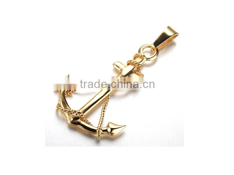 Jewellery stainless steel anchor necklace for men gold anchor necklace wholesale price