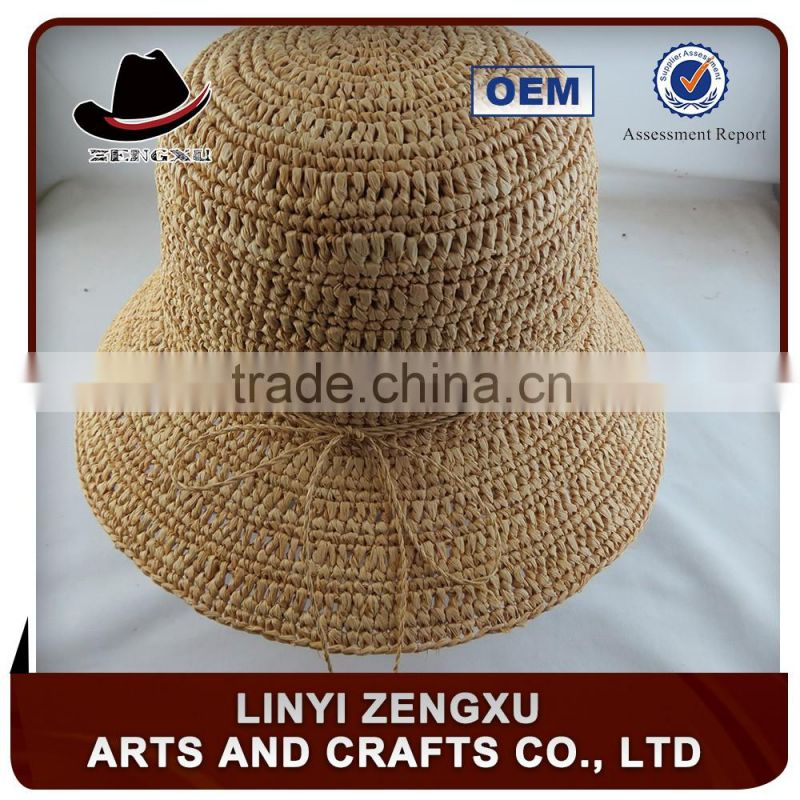 10 years experience floppy paper braid beach adult bucket hat