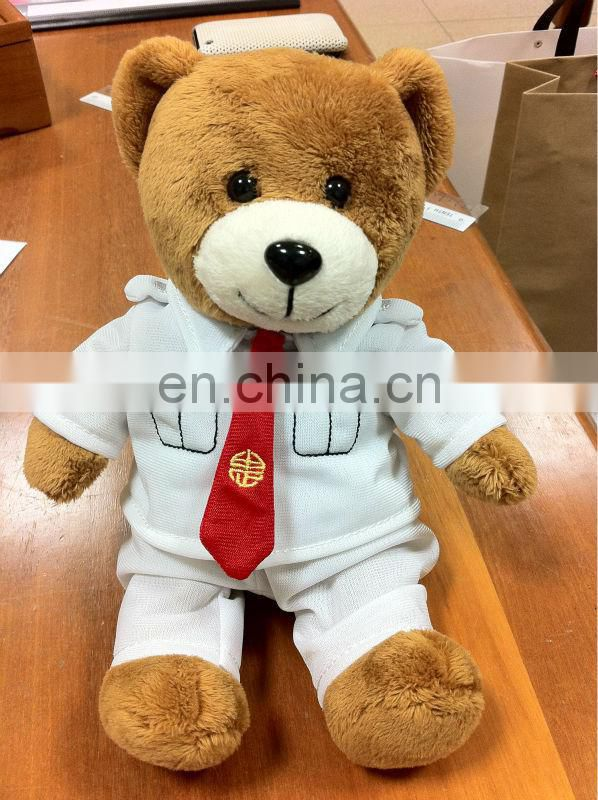 2013 new arrival brown teddy bear/ Graduation bear with T-shirt and red necktie