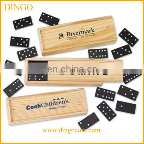 Hot selling top quality double six wooden domino set with wooden box for play game