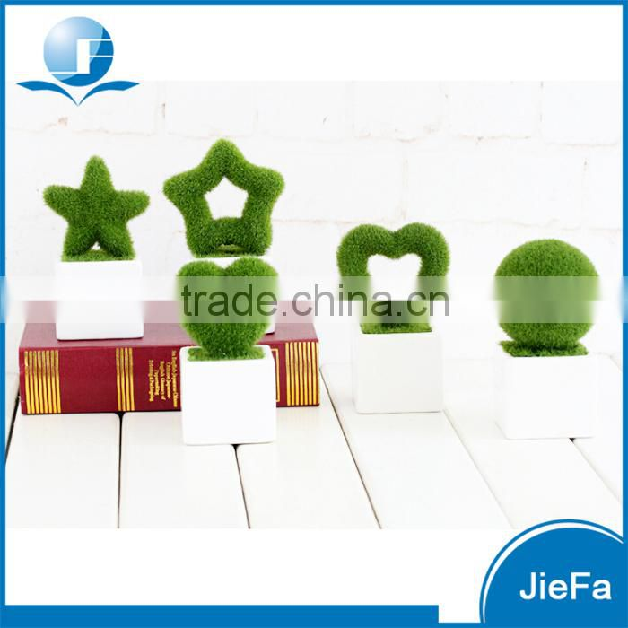 mini artificial plant in shape of ball/star/heart with pot for home decorations / garden decorations