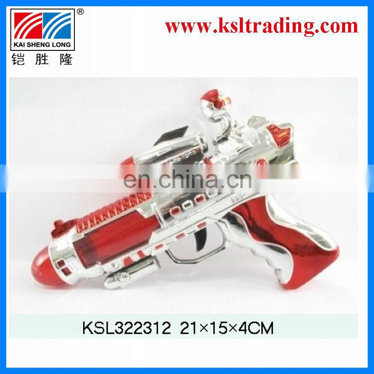 Red electroplate with light and music bo plastic toy sound gun