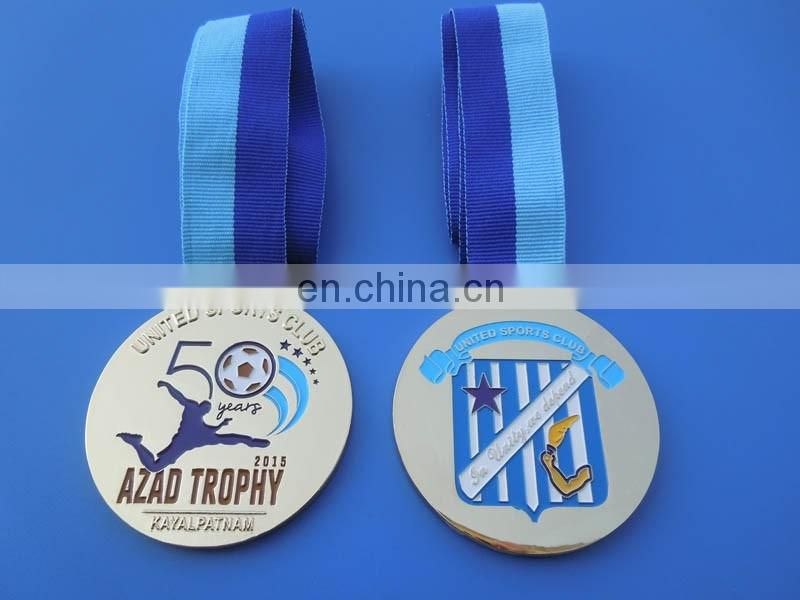 2017 high quality customized soft enamel engraved logo awarded medal with ribbon