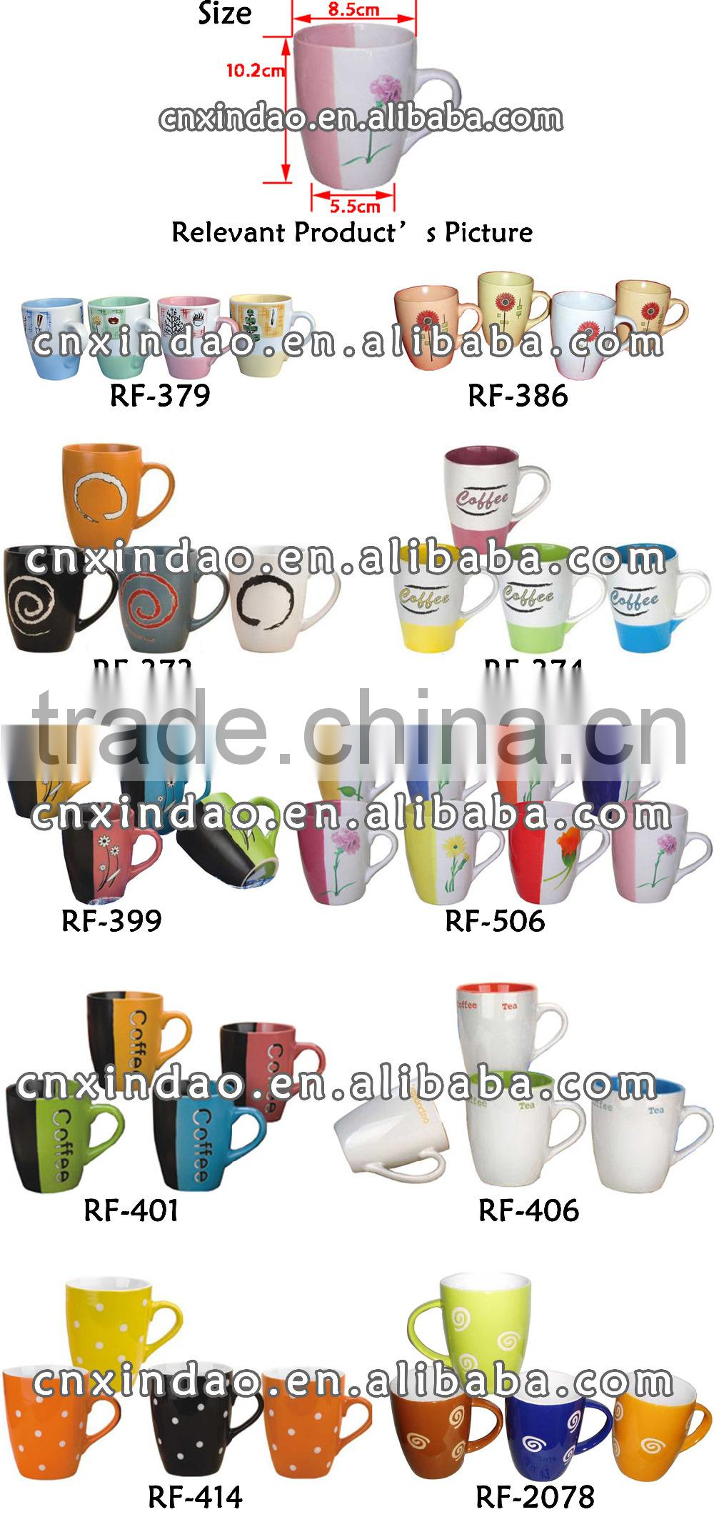 Colored Belly Shape Ceramic Decal Cup for Promotional Coffee Cup and Milk Cup and Tea Cup